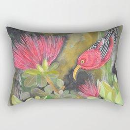 'Iwi'i and Maui 'Alauhio in Red Ohia Lehua Tree Rectangular Pillow
