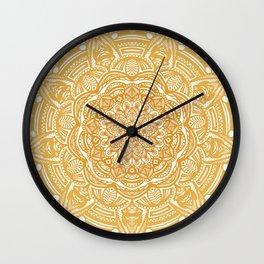 Golden Mustard Yellow Orange Ethnic Mandala Detailed Wall Clock