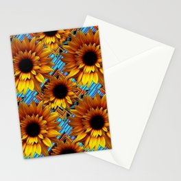 GOLDEN  ART DECO SUNFLOWERS TURQUOISE ART Stationery Cards