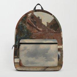 Johannes Vermeer - The little street Backpack