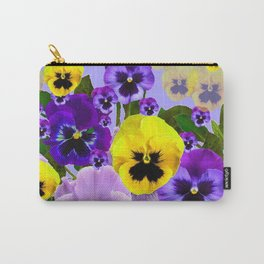 SPRING PURPLE & YELLOW PANSY FLOWERS Carry-All Pouch