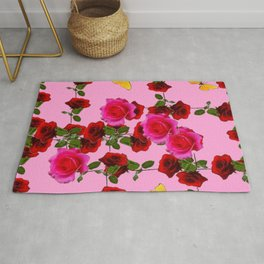 CLIMBING PINK & RED ROSES YELLOW BUTTERFLIES Rug