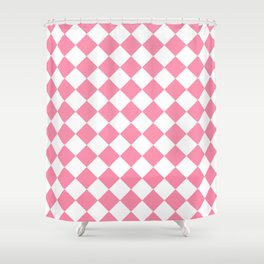 Diamonds - White and Flamingo Pink Shower Curtain