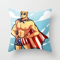 steve rogers Throw Pillows featuring Steve by zombietonbo