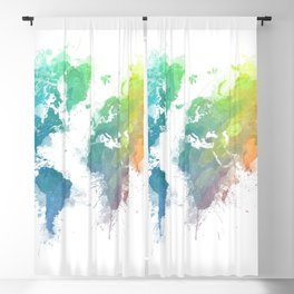 World Map splash 1 Blackout Curtain