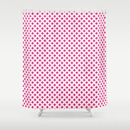 Small Hot Neon Pink Crosses on White Shower Curtain