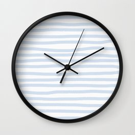 Light Blue Stripes Horizontal Wall Clock