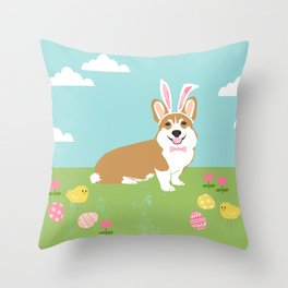 Corgi easter bunny spring dog breed welsh corgis gifts Throw Pillow