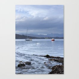 Boats and swan on Windermere with Langdale Pikes beyond. Low Millerground, Lake District, UK Canvas Print