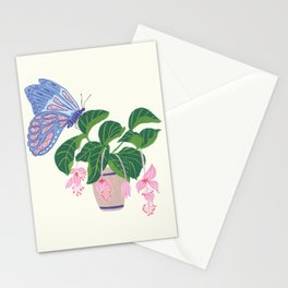 Plant and butterfly Stationery Cards