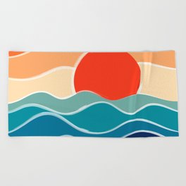 Retro 70s and 80s Color Palette Mid-Century Minimalist Nature Waves and Sun Abstract Art Beach Towel
