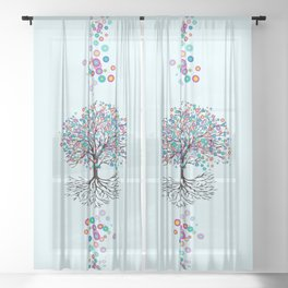 Tree of life rainbow flowers Sheer Curtain