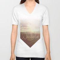 wanderlust V-neck T-shirts featuring Wanderlust by Ed Burczyk