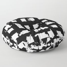 Splatter Hatch - Black and white, abstract hatched pattern Floor Pillow