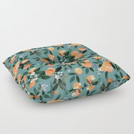 Dear Clementine - oranges teal by Crystal Walen Floor Pillow