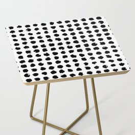Black and White Minimal Minimalistic Polka Dots Brush Strokes Painting Side Table