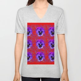DECORATIVE PURPLE PANSY FLOWERS ON RED COLOR Unisex V-Neck