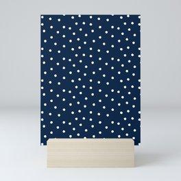 Scatter dots on navy Mini Art Print