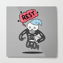 Rest Skeleton Metal Print