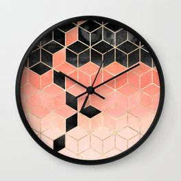 Black And Coral Cubes Wall Clock