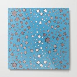 Mucha's Stars Sky Blue Metal Print