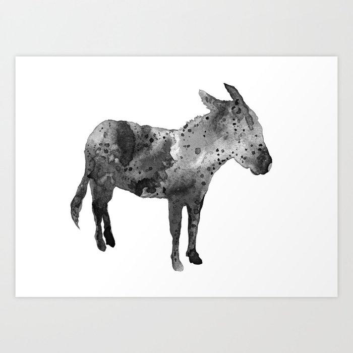 Donkey, black and white Art Print