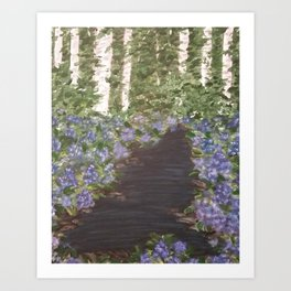 Hydrangeas in the Woods Art Print