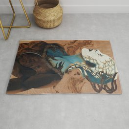 Borg queen wood marquetry design Rug