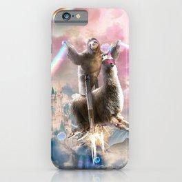 Rainbow Laser Sloth On Llama Unicorn In Space iPhone Case