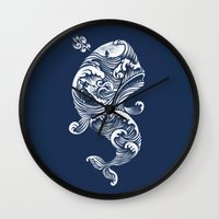 whale Wall Clocks featuring The White Whale  by Peter Kramar