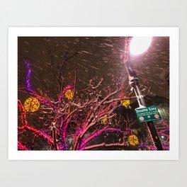 Longfellow Square Christmas Lights (4) Art Print