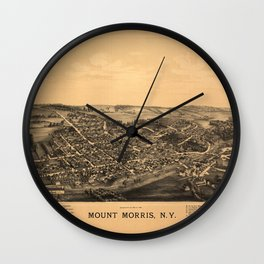 Aerial View of Mount Morris, New York (1893) Wall Clock