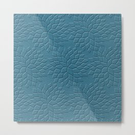 Leather Look Petal Pattern - Niagara Color Metal Print