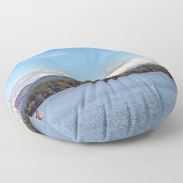 Fall foliage on the lake Floor Pillow