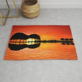 guitar island sunset Rug
