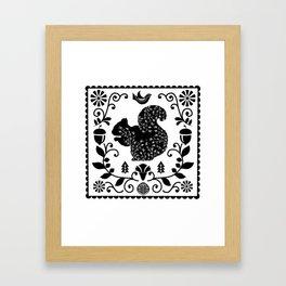 Woodland Folk Black And White Squirrel Tile Framed Art Print