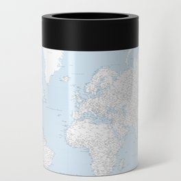 World map, highly detailed in light blue and white, square Can Cooler