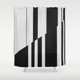 Geometric Abstract #10 Black and White Stripes Shower Curtain