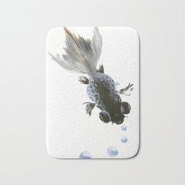 Black Fish, feng shui zen brush minimalist ink art design Bath Mat