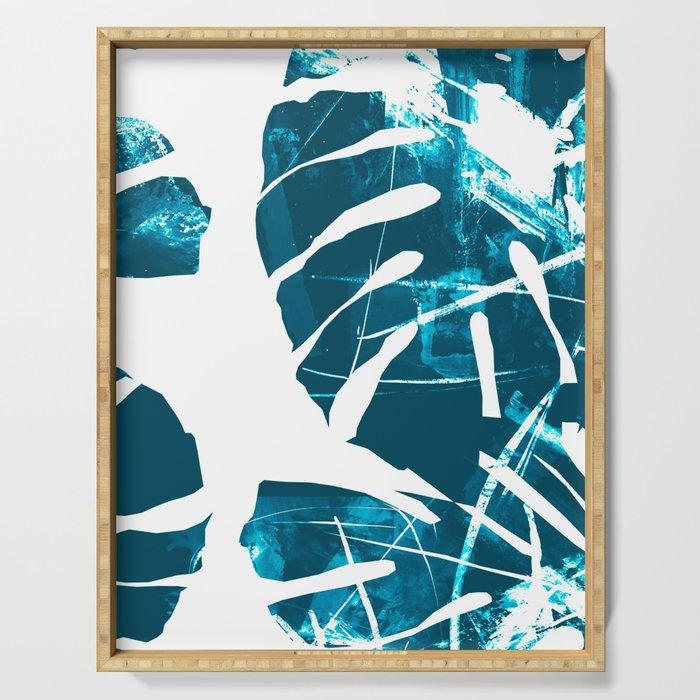 Monstera Leaf Blue Serving Tray