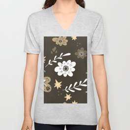 Dark Brown Pattern with White Flowers and light brown butterflies Unisex V-Neck