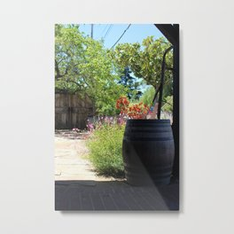 Old Barrel in Flower Garden Solvang CA Metal Print
