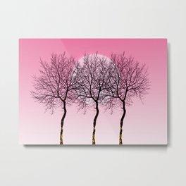 Triplet trees in pink Metal Print