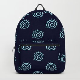 Dark Blue and Turquoise spiral pattern Backpack