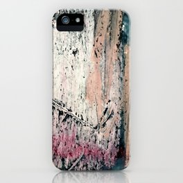 Kelly: a bold, textured, abstract mixed media piece in bright pinks, blues, and white iPhone Case