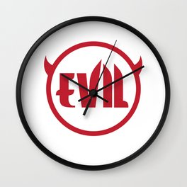 Evil Devil Logo Graphic Funny Red T-shirt Wall Clock