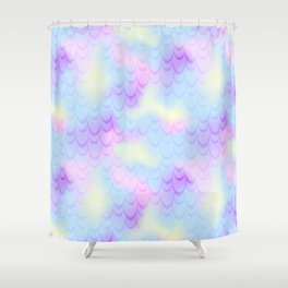 Pastel Blue Mermaid Tail Abstraction. Magic Fish Scale Pattern Shower Curtain