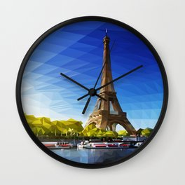 The Pinnacle of Light - Eiffel Tower & River Seine - Paris Wall Clock