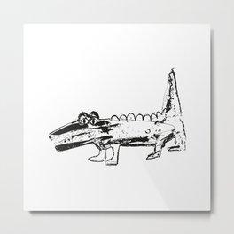 Crocodile white-black pattern for kids Metal Print