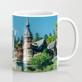Peles Palace In Transylvania, Architecture Photography, Medieval Castle, Mountain Landscape, Romania Coffee Mug